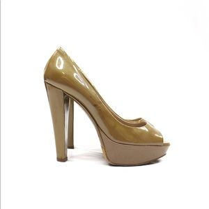 Miu Miu Patent Leather Peep Toe Platform Pumps